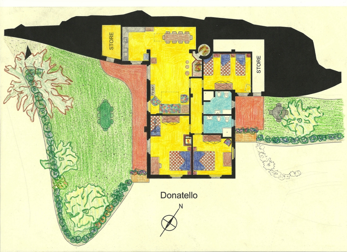 Farm Holidays La Baghera - La Baghera Alta - Donatello Apartment - Layout